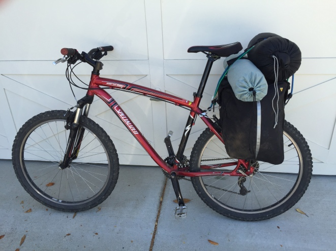 Panniers, plus tent and sleeping bag